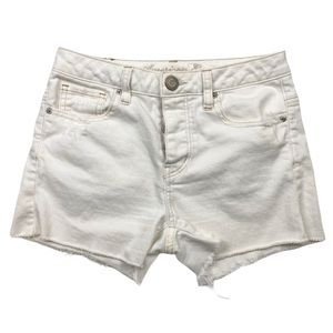 American Eagle Button Fly Off White Cutoff Shorts